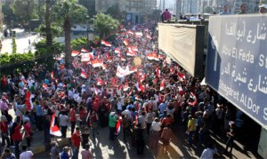 Thousands of artists and intellectuals walk through Zamalek district, from the Ministry of Culture towards Tahrir square, joining nationwide protests. 30 June 2013. (Photo: Ati Metwaly)